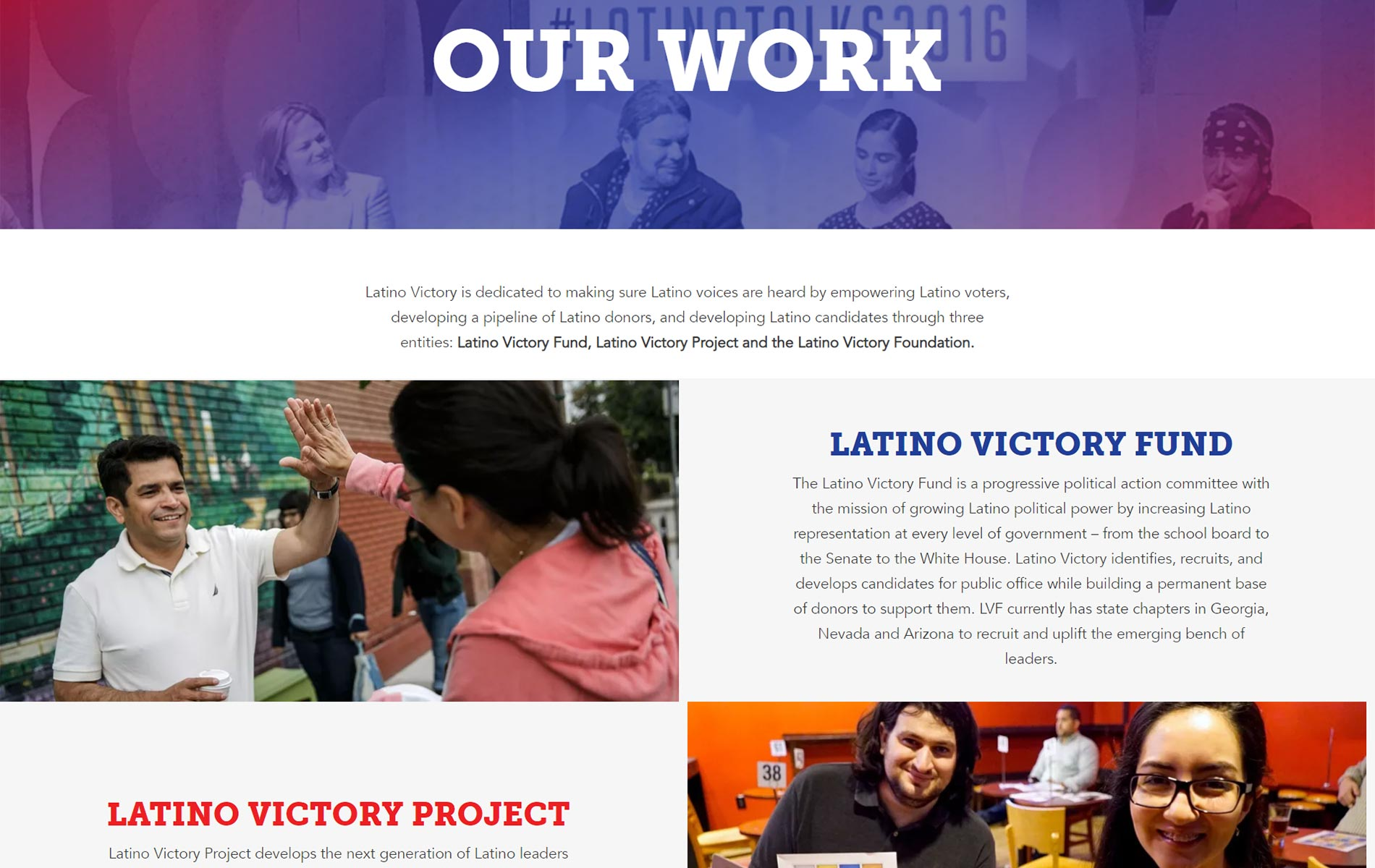 Latino Victory About page screenshot